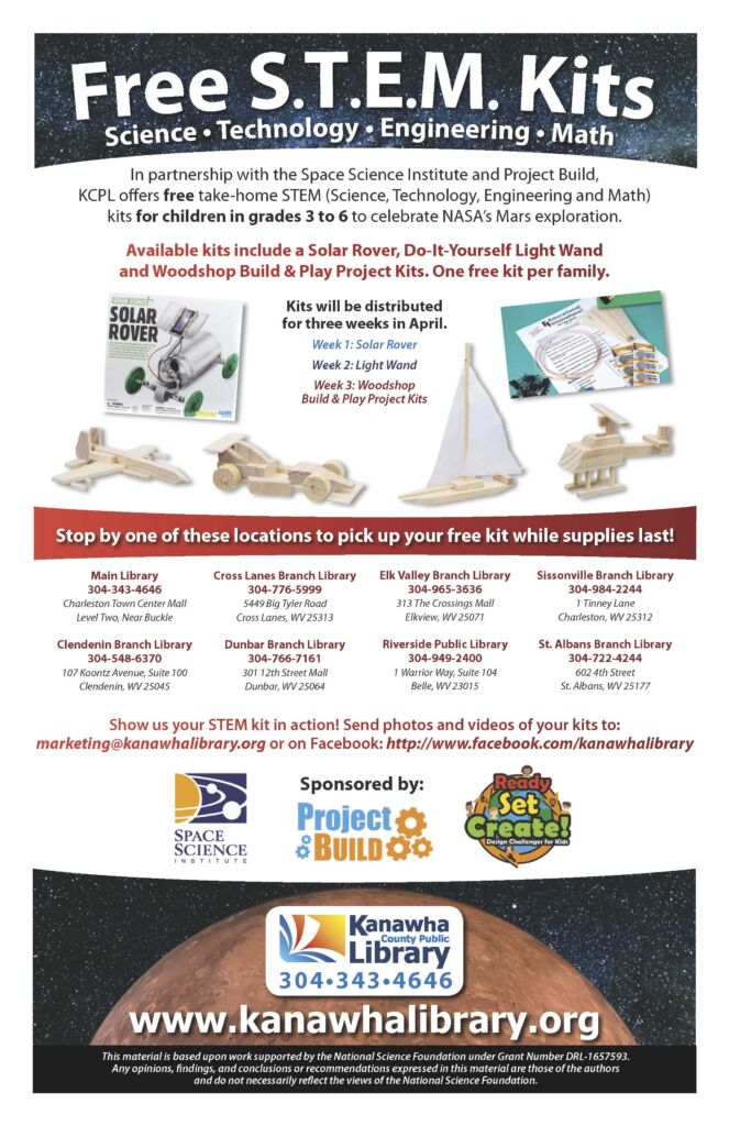 Flyer from Kanawha Co. Public Library advertising a STEM program