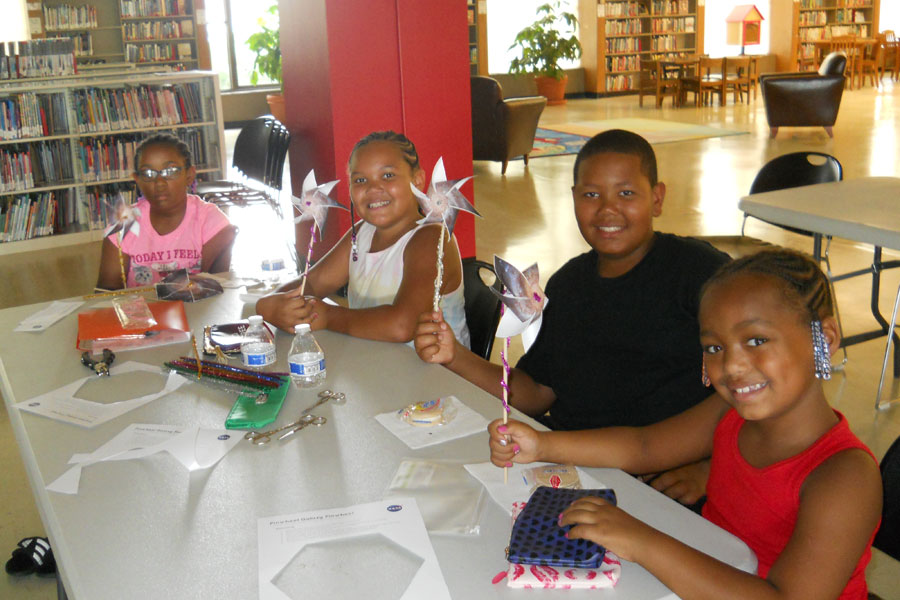 Children participating in Pinwheel Galaxy activity