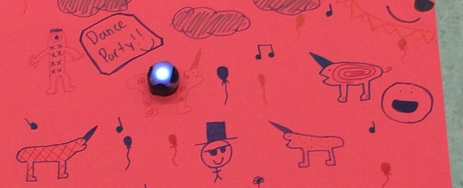 One boot camp participant's dancing Ozobot and backdrop.