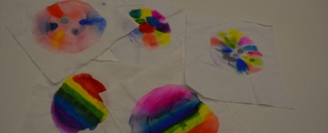 Kids' sharpie tie-dye creations at Skokie Public Library.