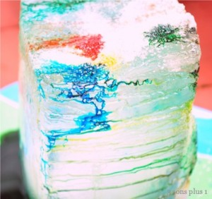 Ice block with food colors