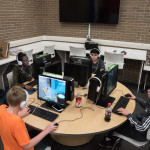 Teens play coop video games in The Lab. 21 Mar 2019