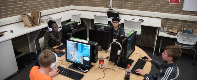 Teens play coop video games in The Lab. 21 Mar 2019