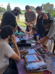 Spectroscopes, anyone? Families learn how to build their own spectroscope at the Gemini Observatory station during Astrobash.