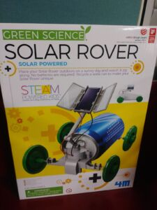 A box showing a Solar Rover Kit for young library patrons