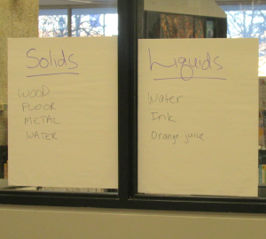 Kids' examples of states of matter.