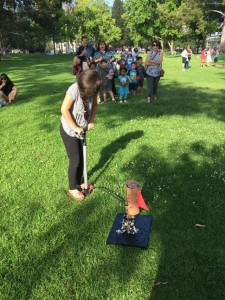 Bottle Rocket Launching, multiple launch stations to avoid too much waiting.