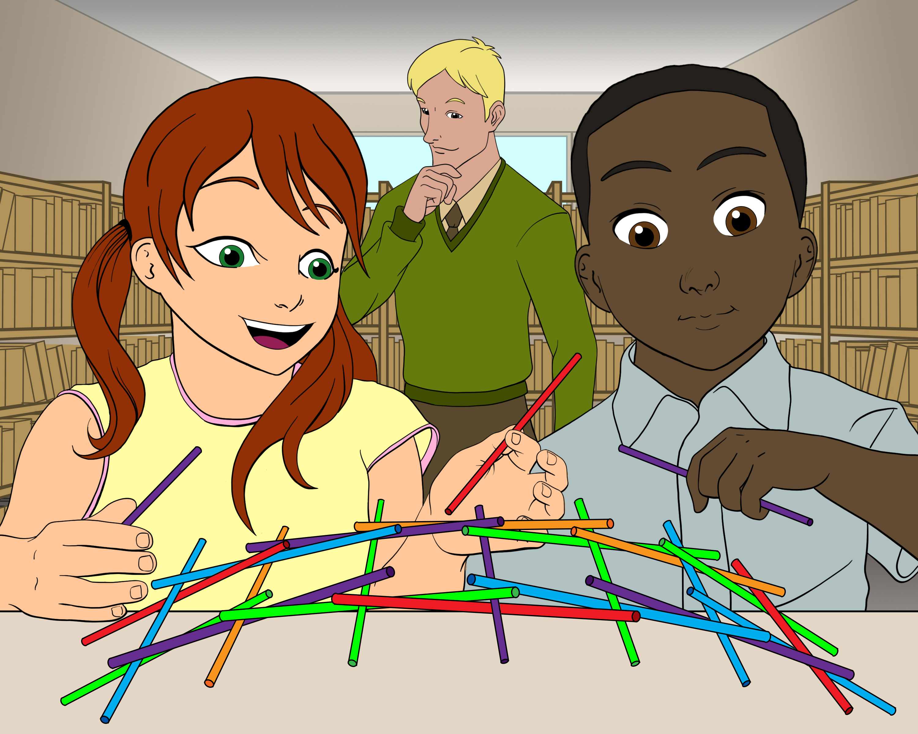 Two children build a structure out of colored sticks while the instructor observes.